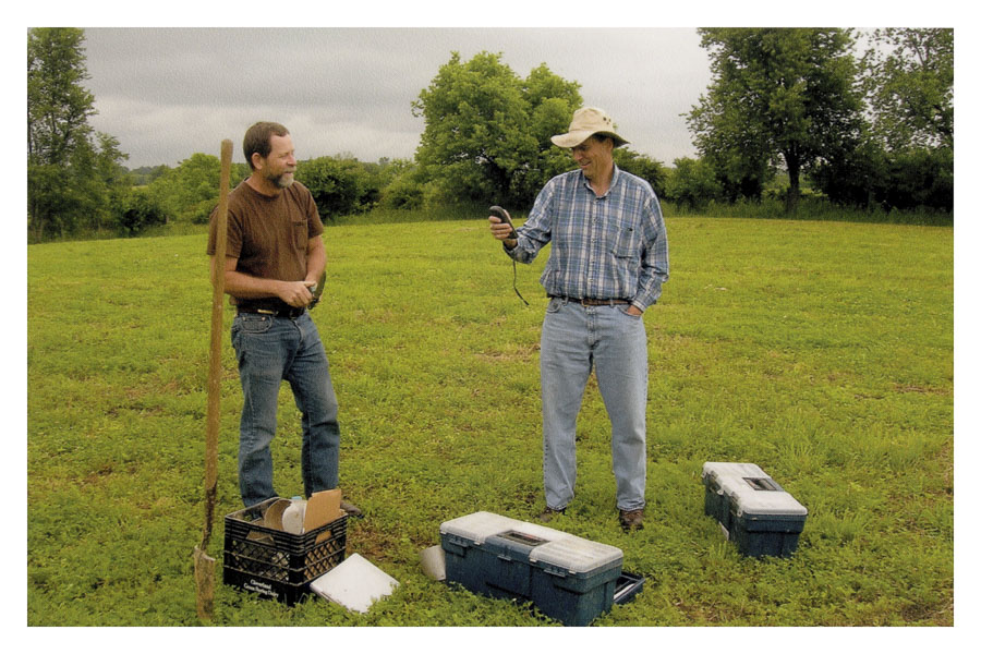 John Graham and fellow soil scientist assess soils for Laura in 2011